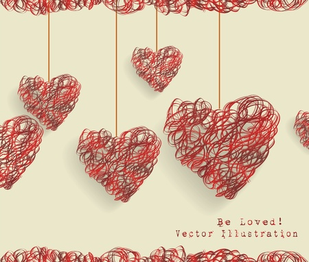 Valentine day doodle hearts Stock Vector - 17385732