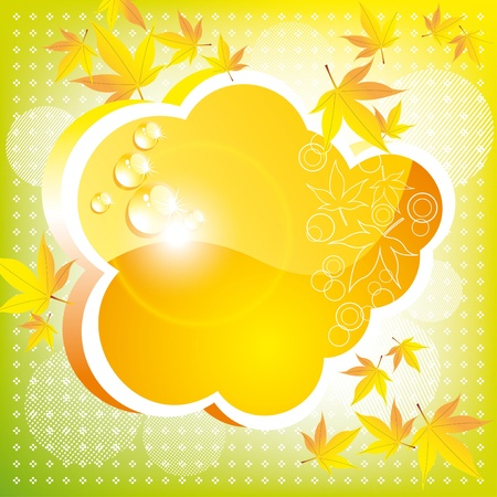 patch of light: Orange autumn cloud with leaves and a patch of light. A bright card