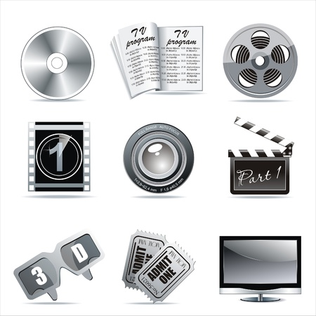 3D glasses: Vector cinema icons: film reel, stack of reels, film strip and clapboard : film reel, stack of reels, film strip and clapboard