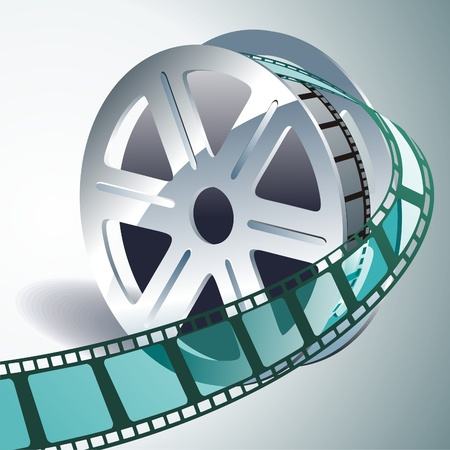 old movies: vector realistic 3d film reel