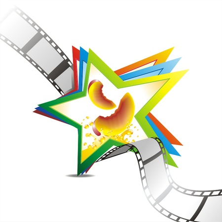 filmroll: Segment film rolled down on a white background with star