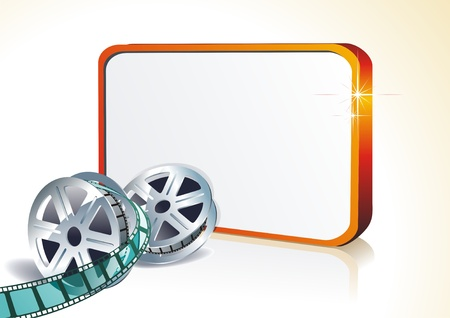 3d film: Segment film rolled down on a white background with banner