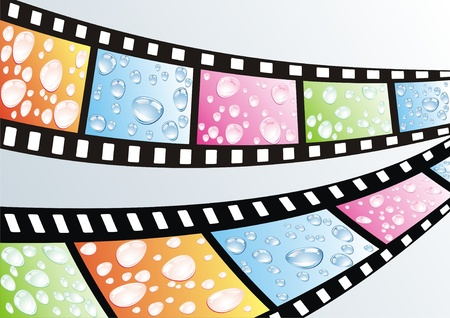 a film strip with water drops  Vector