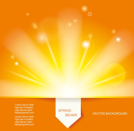 Sun Beams with Orange Yellow Blurred and Paper Sticker Vector