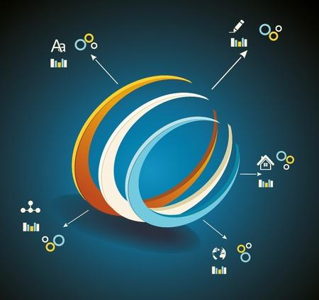 Vector 3d Symbol business communication network technology