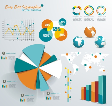 information button: Set elements of infographics  Illustration