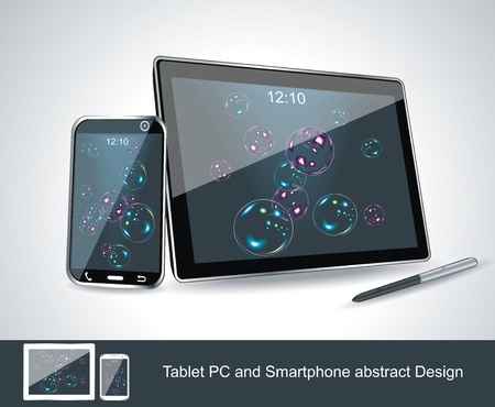Set of vector blank generic tablet pc and smartphones