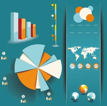 information graphics: Set of Infographic Elements. World Map and Information Graphics