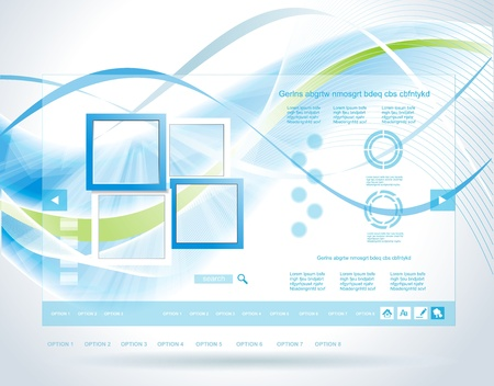 cadre: Modern blue glass website template Illustration