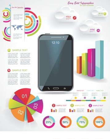 econimics: Modern Infographic with a touch screen smartphone in the middle