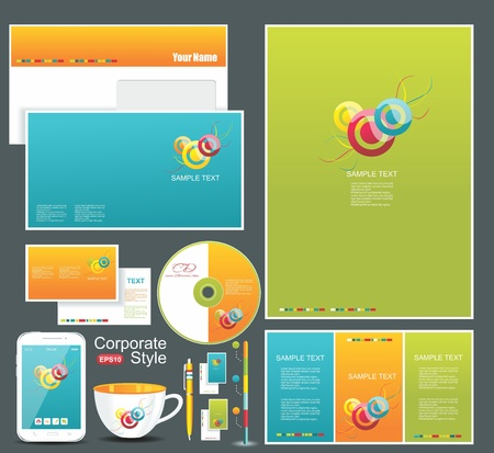 Corporate identity templates blank, business cards, disk, envelope, smart phone, pen, badge, cup  Vector