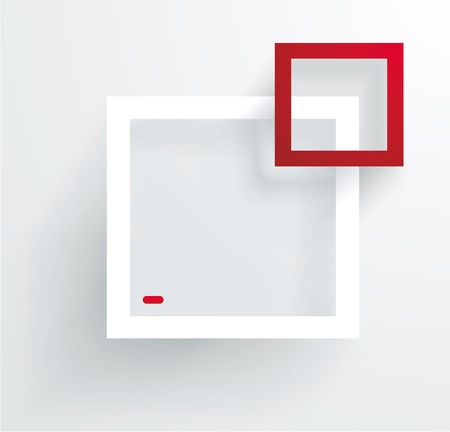 exposition: White and red frames on the wall.