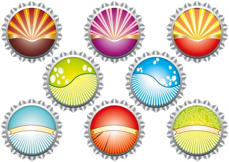 A vector illustration of metal bottle tops in various colours, with condensation water drops. Space for your text Stock Vector - 19152015