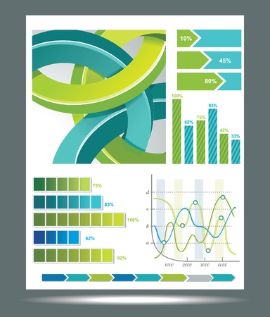Blue and green technological banner with Information Graphics . Vector illustration Vector