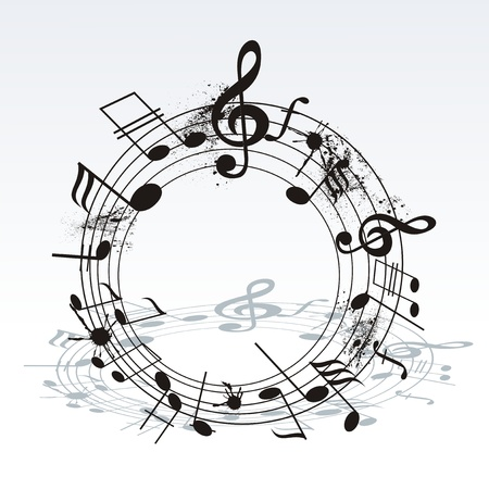 performing arts event: music notes twisted into a spiral