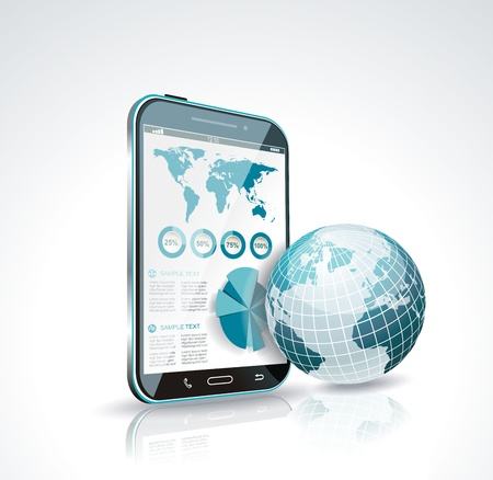 Illustration of a smart phone and globe. Vector. Vector