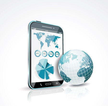 Illustration of a smart phone and globe  Vector  Vector