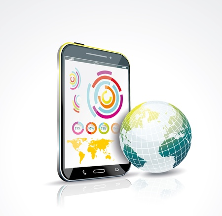 Illustration of a smart phone and globe  Vector Stock Vector - 19430479
