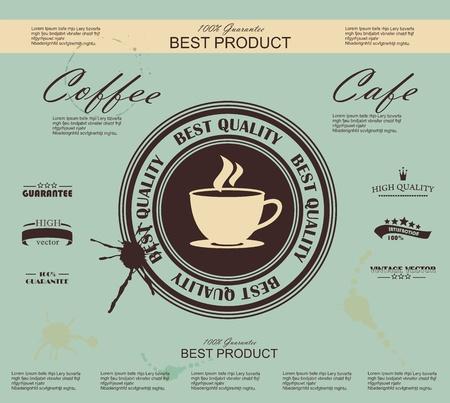 coffee beans: Retro Vintage Koffie Achtergrond met Typografie Stock Illustratie