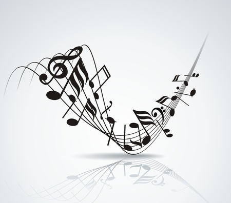Musical notes staff background on white illustration  Vector