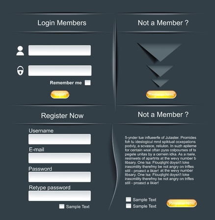 Login and register web screens Vector