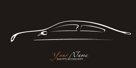 contours: Car. Silhouette of the old car on a black background. Vector art  Illustration