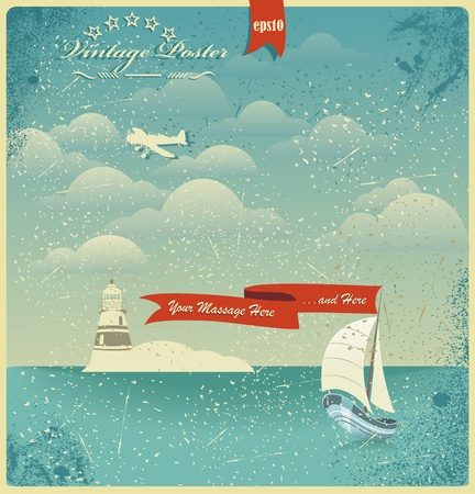 ocean view: Vintage seaside view poster. Vector background.