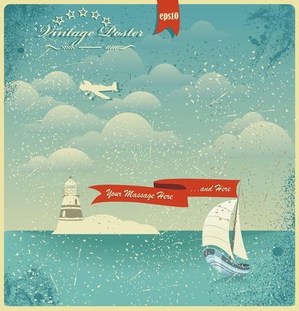 Weinlese-Blick aufs Meer Poster. Vector Hintergrund. Illustration