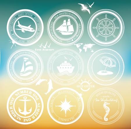 azul marino: Elementos retro para los dise�os de verano Sellos de la vendimia de aire vintage y cruceros excursiones etiquetas e insignias