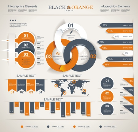 web page elements: Retro infographics set  World Map and Information Graphics  Illustration