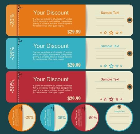 discount coupon: Vintage Labels template set  Sale, discount theme  Retro logo template design