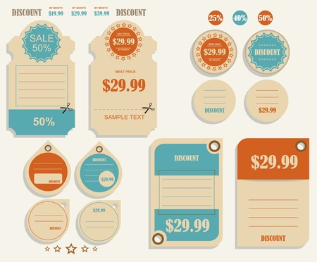 Vintage Labels template set  Sale, discount theme  Retro logo template design  Vector