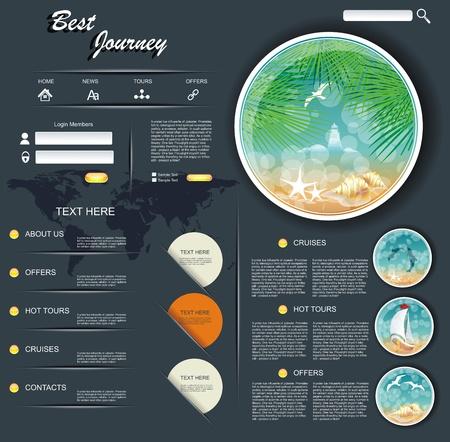 submenu: Vector Travel Website Design Template