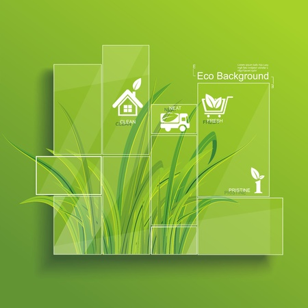 green board: Environment concept  Grass behind the glass  Illustration