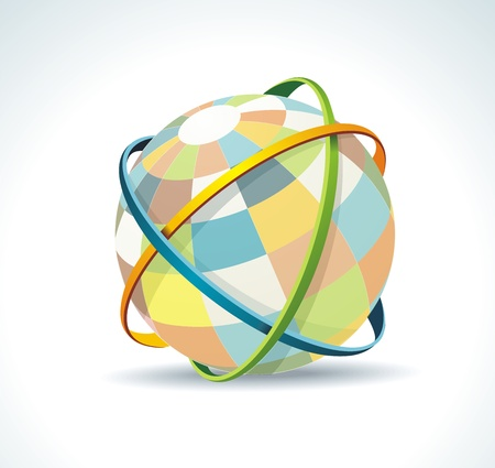 world wide: Abstract globe symbol internet and social network concept. Isolated vector icon. Illustration