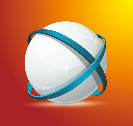 red earth: Abstract globe symbol internet and social network concept. Isolated vector icon. Illustration