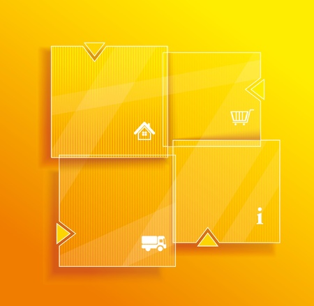 Glass framework set. Website template design. Vector
