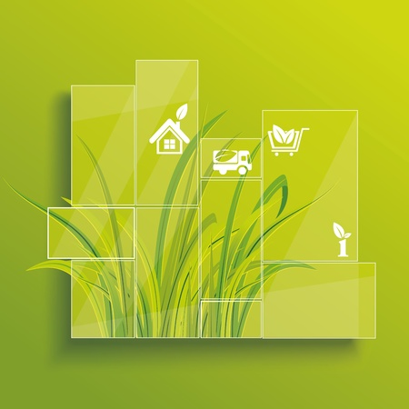 Environment concept. Grass behind the glass. Vector