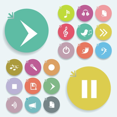 Play signs icon set. Vector