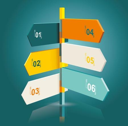 indicatore: Modello Diagramma di puntatori multidirezionale su un cartello