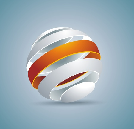3d ball: Abstract globe symbol internet and social network concept. Isolated vector icon.  Illustration