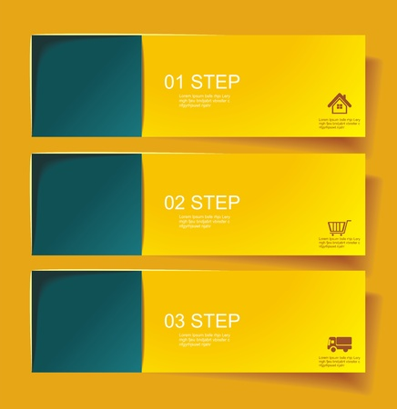 Set of Bannerss  STEP 1 2 3 with Different Shadow.  Vector