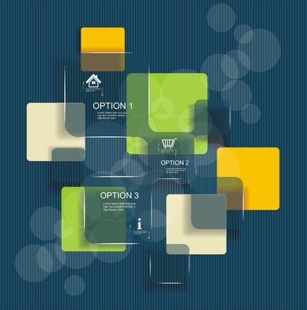 Moderne Design-Vorlage. Kann für Infografiken, nummeriert Zellen, Ausschnitt Linien, website desing Elemente verwendet werden. Standard-Bild - 21504329