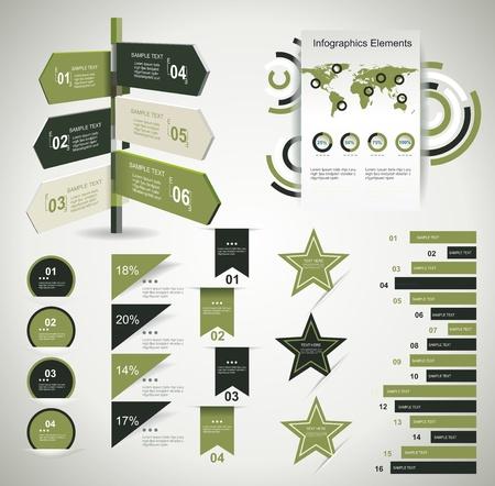 Infografik Design-Vorlage mit Papier-Tags. Idee, Informationen, Ranking und Statistiken mit Zeiger auf Retro-Stil angezeigt.