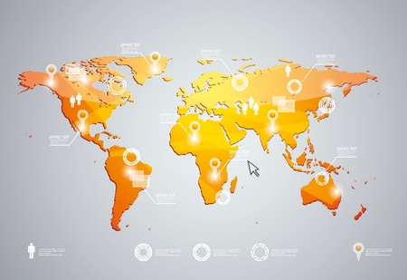 3d vector world map illustration and infographics design template.  Vector