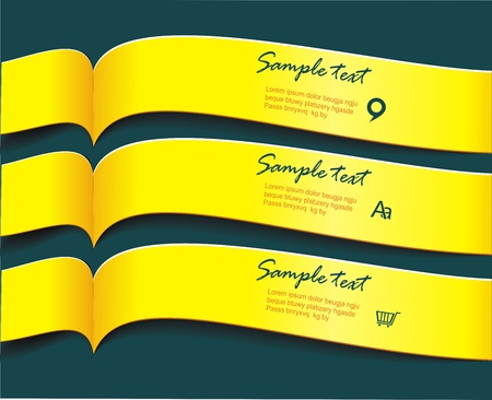 Vector bright yellow banners or ribbons set Stock Vector - 21995474