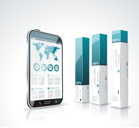 モダンなボックス デザイン最小限のスタイル インフォ グラフィック テンプレート タッチ スクリーンのスマート フォンです。