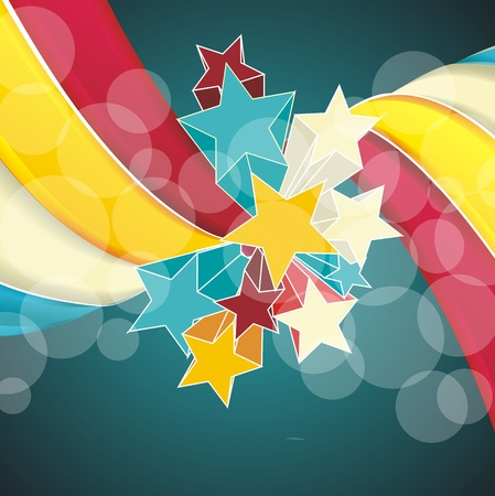 fete: Ribbons and stars isolated on white background. Grunge carnival A retro circus background for a poster