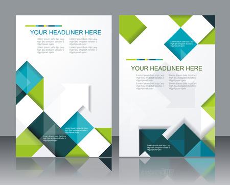 sjabloon: Vector brochure template design met blokjes en pijlen elementen. Stock Illustratie