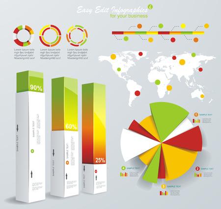 graficas de pastel: Infografía modernos establecen. Mapa del Mundo y gráficos de información. Vectores